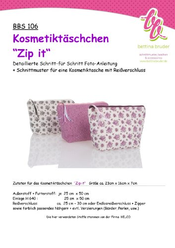 BBS 106 Schnittmuster Kosmetiktasche ZIP IT mit Fotoanleitung bettina bruder®