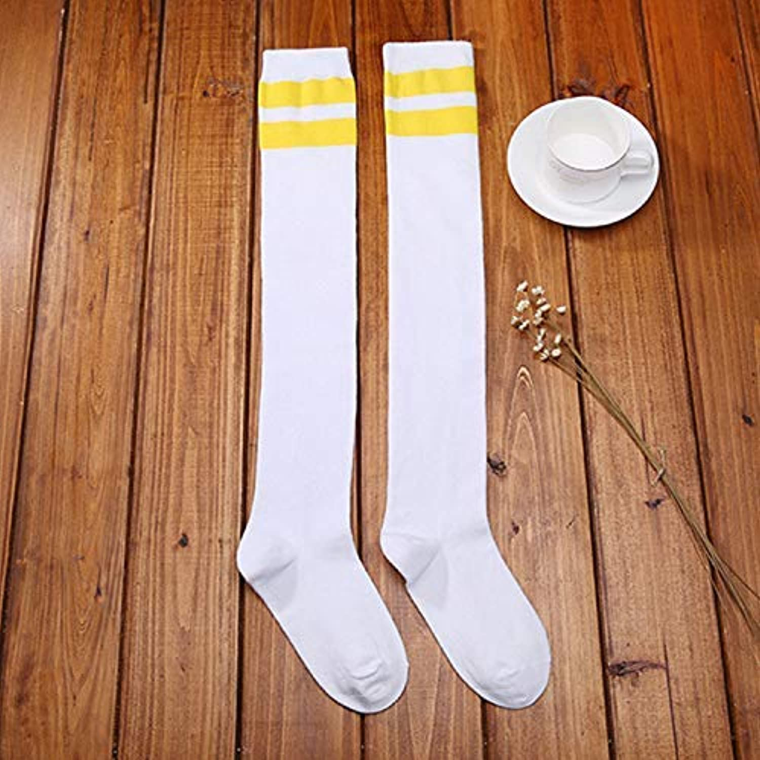 Comfortable Arm Warmer Leg Stocking Home Japanese Spring and Summer Baseball Socks in Stockings Striped Female Cotton Sports Deodorant Students Cycling Running Long Tube Socks (color   Yellow)
