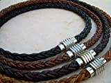 Handmade Thick Braided Leather Choker Necklace with Industrial Stainless Steel Magnetic Clasp - Genuine Leather Necklace for Men - Available sizes: 16,18,20,22,24 inch or Custom
