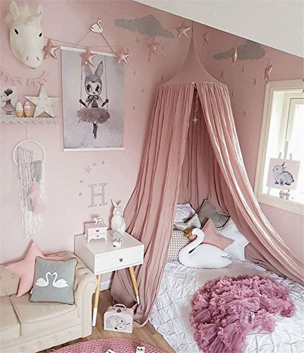 Baldachin für Kinderbetten, runde Aufhängung, Baumwoll- / Leinenstoff, Moskitonetz, Raumdekoration, Vorhang rose