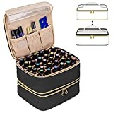 Luxja Detachable 2 Layers Essential Oil Case - Hold 60 Bottles (5ml - 30ml), Essential Oil Storage Bag with Multiple Pockets,(Patented Design), Black