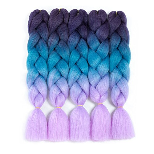 "Forevery Rainbow Braiding Hair Kanekalon Synthetic Ombre Hair 5Pcs for Braiding High Temperature Fiber Crochet Twist Braids Purple to Blue to Viole (24"", 9#)"