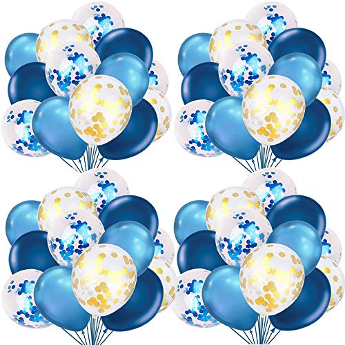 Blue and Gold Balloons Set with 80Pcs 12inch Blue Balloons and Latex Confetti Balloons for Baby Shower, Wedding, Birthday Party Decorations Supplies