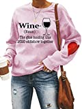 Chatinction Women's Long Sleeve Wine Glass Printed Pullover Shirts Lover Heart Graphics Patchwork Blouses Pink M