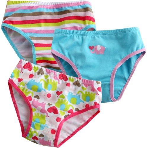 Vaenait pour bébé 2–7 Ans Enfants Filles sous-vêtements Slip 3-Pack Ensemble Amour éléphant - - Petit