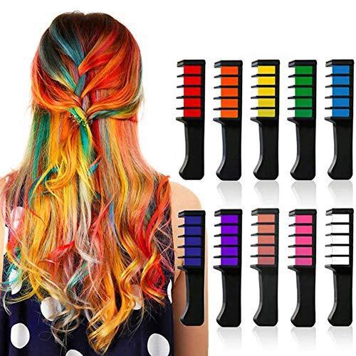 UUMFP tizas para el pelo, 10 PCS Tinte de peine temporal para niñas Halloween DIY, para adultos Niños y niños Peine de tiza para el cabello