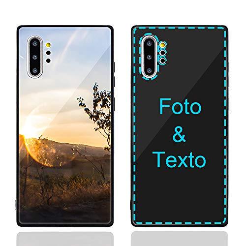 MXCUSTOM Funda Personalizada para Samsung Galaxy Note 10+ 10 Plus, Carcasa Personalizado Teléfono móvil Anti-Rasguños Vidrio Templado Parachoques Suave con Foto Imagen Texto Diseña (GHS-BK-P1)