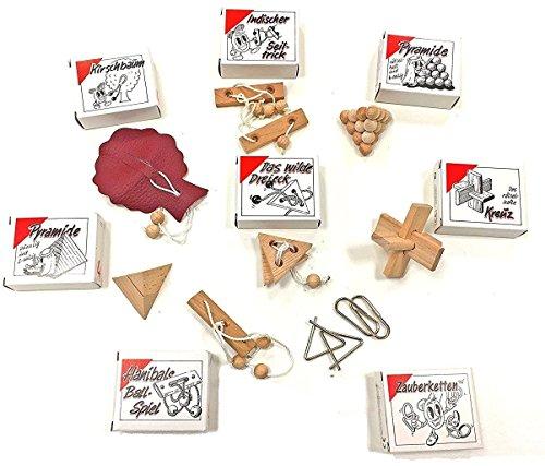 GICO 8 beliebte Knobelspiele Holzpuzzle Geduldspiele im Set, einzeln verpackt mit Lösungsheft - als Geschenk oder für den Adventskalender