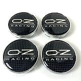 OZ Racing – Juego de 4tapas para buje, 60mm, efecto carbono, con logo de OZ Racing