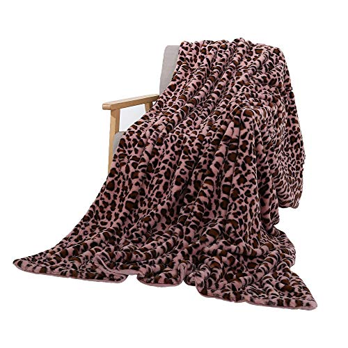 """SUCSES Flannel Fleece Throw Blanket, Super Soft Faux Fur Luxury Leopard Print Blankets for Couch Bed Sofa Chair (Pink, 63""""x79"""")"""