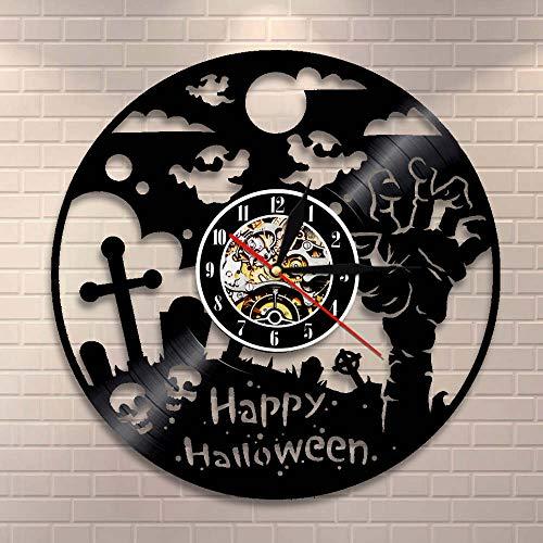 BFMBCHDJ Happy Halloween Dekorative Silent Quartz Vinyl Schallplatte Wanduhr Horror Dekor Zombie Hand Wandbehang Uhr Home Decor Mit LED 12 Zoll