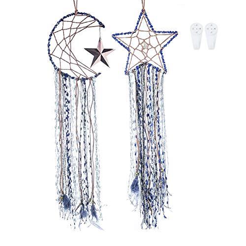 Guifier Pacote com 2 unidades, feito à mão, apanhadores de sonhos azuis, macramê para pendurar na parede, decoração de casa, presente para festivais (conjunto de lua e estrela)