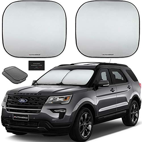 Autoamerics Windshield Sun Shade 2-Piece Foldable Car Front Window Sunshade for...