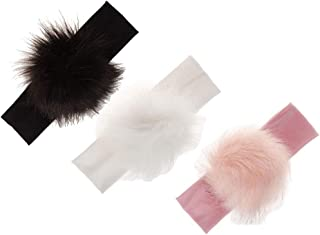 Baby-Girl Fur-Pom-Pom Hairband Ball-Top-Headbands - 3 Pieces of Pack Fit 1-3 Years