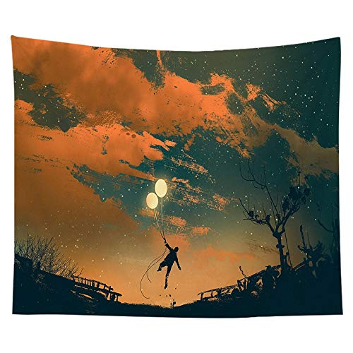 WERT Tapiz nórdico Red Acuarela roja Cielo Estrellado Paisaje Fondo Tela Personalidad decoración del hogar Tapiz A11 73x95cm