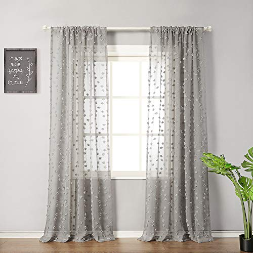 "MYSKY HOME Pom Pom Sheer Curtains Rod Pocket Voile Sheer Drapes Window Curtains for Bedroom Living Room (2 Panels, 54"" x 84"", Grey)"