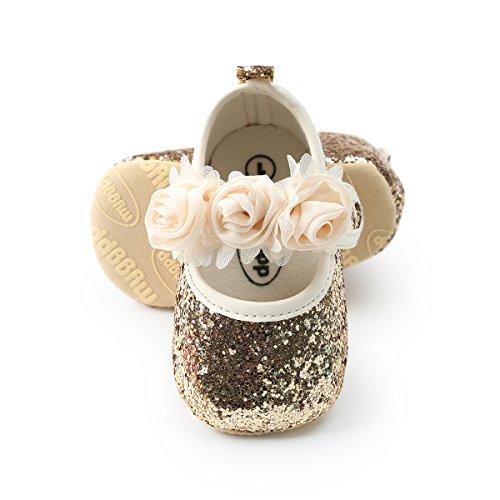 BENHERO Baby Infant Girls Soft Sole Floral Princess Mary Jane Shoes Prewalker Wedding Dress Shoes (0-6 Months Infant), E/Gold