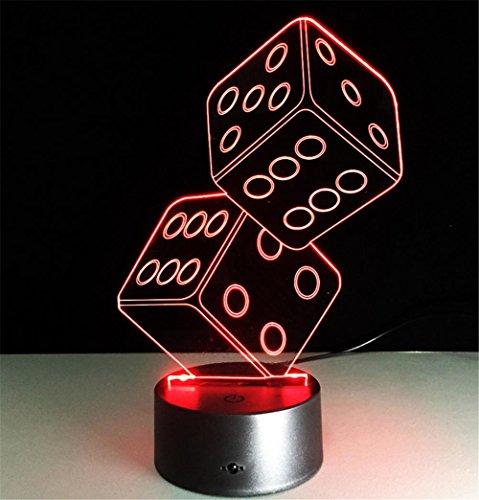 Veilleuses Illusions Optiques Double dés Lampe de bureau 3d 7 couleurs Changement tactile interrupteur à distance Tableau de commande LED Night Light Lighting Décoration Accessoires pour la maison
