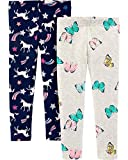 Carter's Girls' Little 2-Pack Leggings, Butterfly/Unicorn, 3T