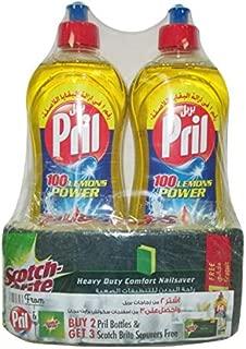 Pril 100 Lemons Power Dishwasing Liquid 1 Liter Twin Pack + Scotch-Brite Sponge