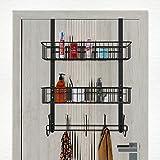 LUCYCAZ Over The Door Hooks Organizer Hanger, Towel Rack 5 Hooks with 2 Mesh Basket Behind Door Hooks Hanger Shelf, Back of Door Storage Organizer for Barthroom Kitchen Hanging Towel Clothes (Black)