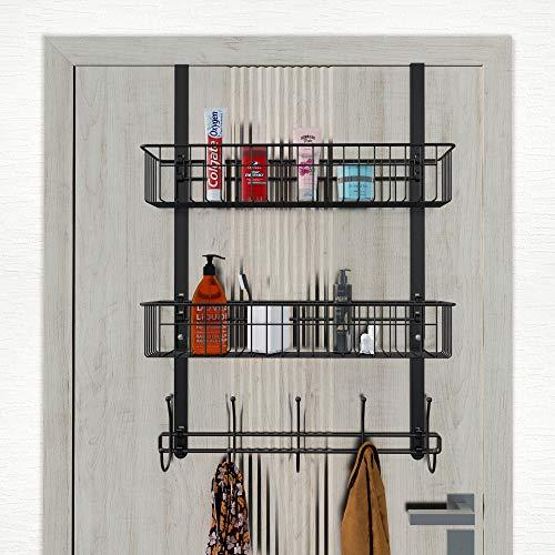 LUCYCAZ Over The Door 5 Hook Hanger Shelf with 2 Mesh Basket, Over The Door Towel Rack Organizer Storage Hanging Towel Clothes Barthroom for Hat & Bag (Black)
