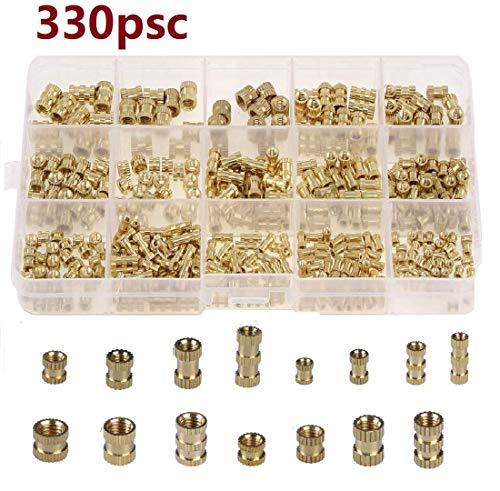 beihuazi® 330Stk Gewindeeinsatz Einpressmutter M2 M3 M4 M5 Innengewinde Rändelmuttern Messing Einbettung Muttern für Kunststoffteile in 3D Druckteile