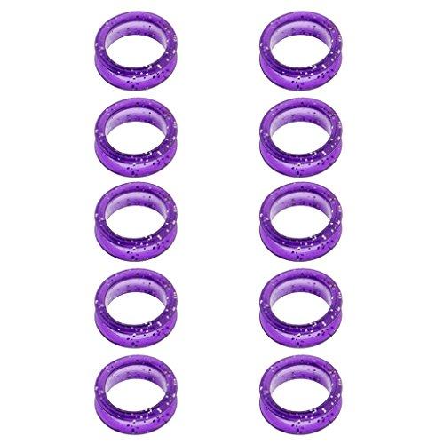 10 Pedazos Anillo de Dedo de Caucho Antideslizante Anillo de Tijera de Goma Anillo para Tijeras - Púrpura