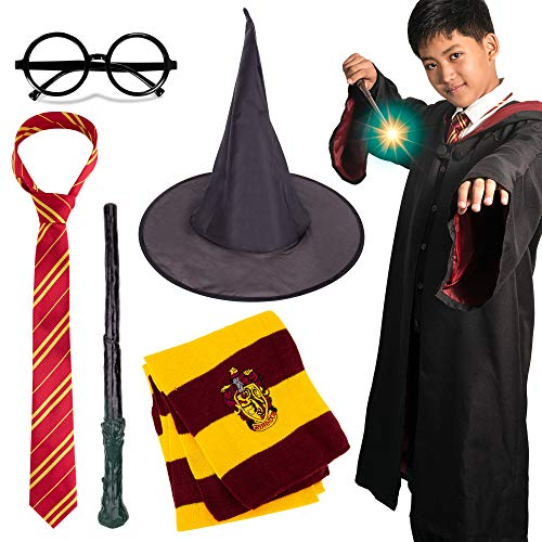 Novelty Scarf Wizard 5 pcs Cosplay set for Halloween Christmas, Striped Tie, Novelty Glasses Frame, Wizard hat, Magic Wand and Heathered Knit Scarf for Cosplay Party Costume Necktie Accessories