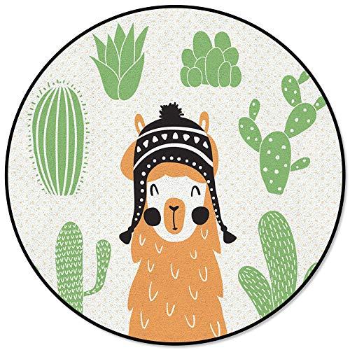 Alfombra Redonda Decorativa para el hogar Moderna de Dibujos Animados Lindo Lama Cactus Alpaca Alfombras de salón Redondas Impresas Dormitorio Alfombra Antideslizante para Piso-Diameter_120cm