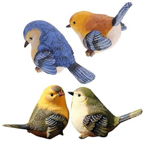 Sharplace 4pcs Oiseaux Résine Faux Ornement Figurine Sculptures Cadeau de Noël