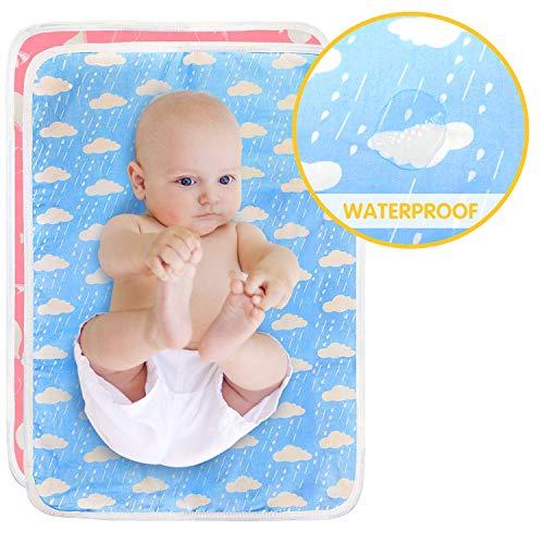HyAdierTech Almohadilla De Cuna Impermeable para Bebé, Cambiadores De Pañales y Ropa Impermeables Acolchado Bebe, Plegables, Portatil, Colchón Bebé Lavables Cama Para Bebés