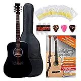 Classic Cantabile guitare acoustique folk gaucher set démarrage, kit d'accessoires à 5 pièces, noir