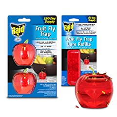 CONVENIENT INSECT TRAP TO PROTECT YOUR FRUITS: When looking for an easy way to kill fruit flies that ruin your food, don't just rely on ordinary fly catchers, food fly killer, or fly control product. Choose the Raid Fruit Fly Trap Indoor Bait. This a...
