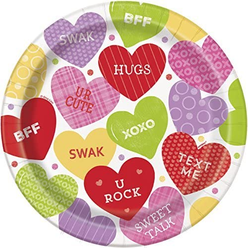 23cm Candy Valentines Party Plates, Pack of 8 by Unique Party