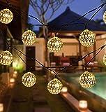 Solaire Fer Maroc Boule En Plein Air Étanche Jardin Jardin Décoration Chaîne De Lumière Chaude 2 Mode 40LED B