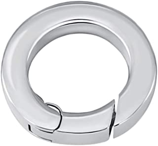 Quiges Stainless Steel Connection Ring with Push Clasp for Necklace and Coin Pendants
