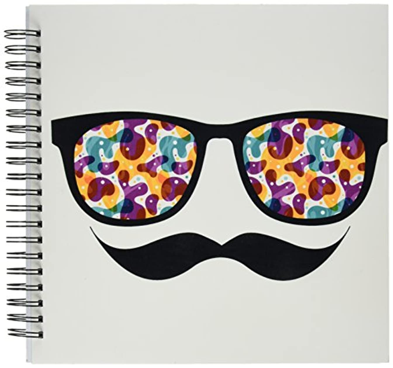 3dRose db_116508_2 Hipster Trendy Retro Color Blobs Shades Sunglasses and Mustache-Memory Book, 12 by 12-Inch