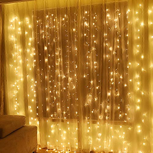 Twinkle Star 600 LED Window Curtain String Light for Wedding Party Home Garden Bedroom Outdoor Indoor Wall, Warm White