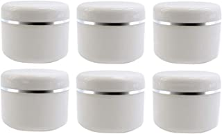 20ml 0.67oz White Silver Edge Empty Refillable Cosmetic Plastic Jars with Dome Lid Make Up Face Cream Lip Balm Lotion Stor...