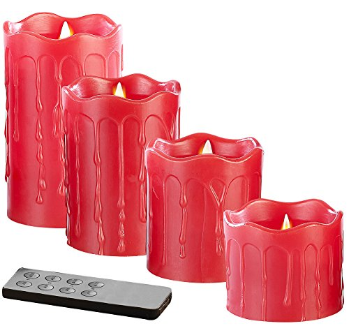 Britesta LED Kerzen: 4 flackernde LED-Echtwachskerzen, Höhe Abgestuft, rot (LED Adventskerzen)