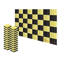 新しい48ピース 250 x 250 x 50 mm ピラミッド 吸音材 防音 吸音材質ポリウレタン SD1034 (黒と黄)