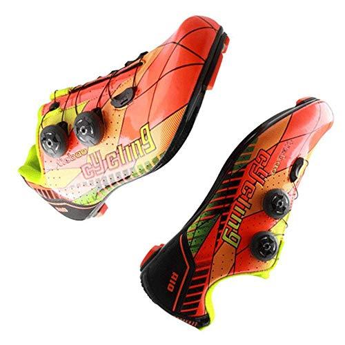 Rennradschuhe Carbon Lightweight Fibre Bike Schuhe Ultraleichter Fahrradschuh Professionelle Rennradschuhe,Orange-43