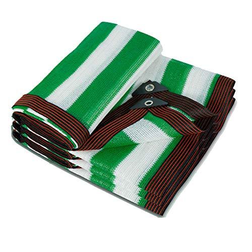 HLMBQ 2x10 m Filet d'Ombrage Tissu d'ombrage Anti-UV Thermique Epaisse Toile d'ombrage Patio pergola fenêtre Jardin Toit Couvre Green-White Stripes