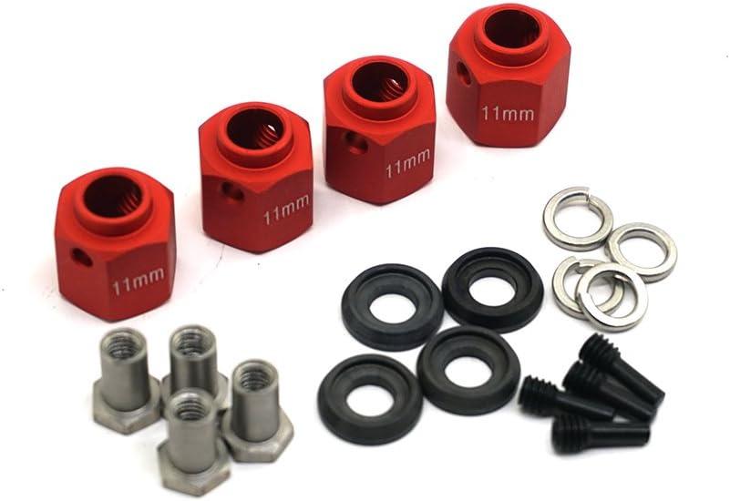 MOHERO Aluminum Alloy 6mm Thick 12mm Hex Wheel Hubs for Traxxas Trx4 1//10 RC Model Crawler Car Black, 6mm