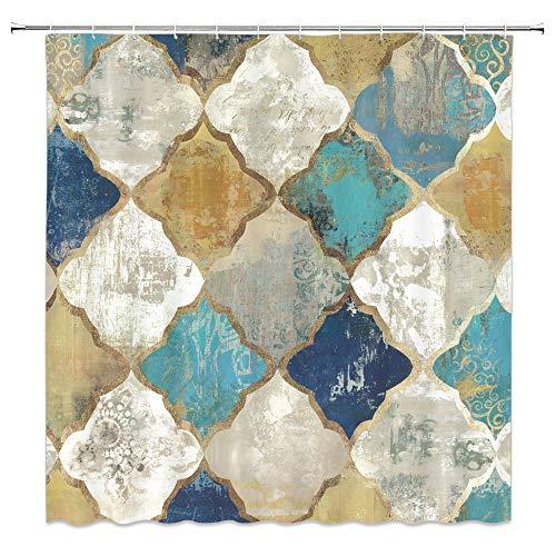 AMFD Geometric Quatrefoil Shower Curtain Retro Cubes Nostalgic Creative Diamond Ethnic Old Look Blue Beige Gray Yellow Bathroom Curtains Decor Polyester Fabric Waterproof 70 X 70 Inches Include Hooks