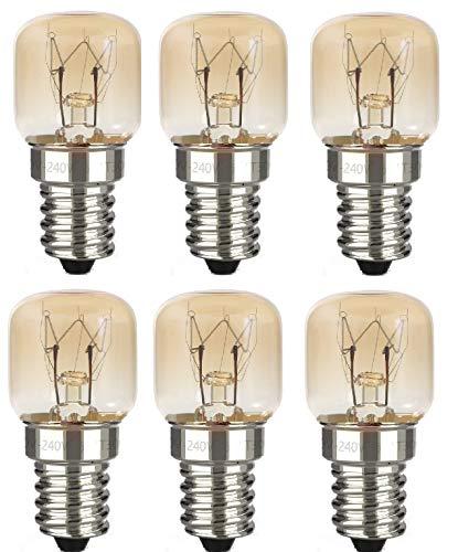 AcornSolution 15W T22 E14 230-240V SES backofenlampe Dimmbare klare GLS-Glühbirne für Kühl- und Gefriergeräte (6er-Pack)