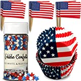 Patriotic Cupcake Supplies for 75 - Baking Cups, Decorating Sprinkles Stars (red white and blue), 100 Mini American Flag Picks, USA Party Supply, Stars and Stripes Decorations for July Fourth muffins