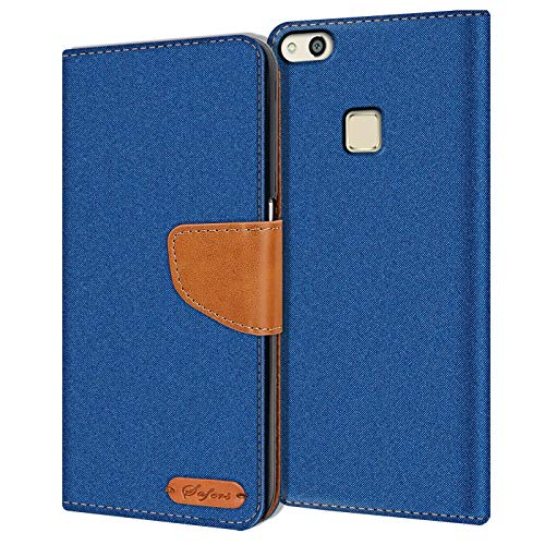 Verco Art Funda de Cuero Huawei P10 Lite, Funda para teléfono móvil para Huawei P10 Lite Funda de Libro Tela, Azul