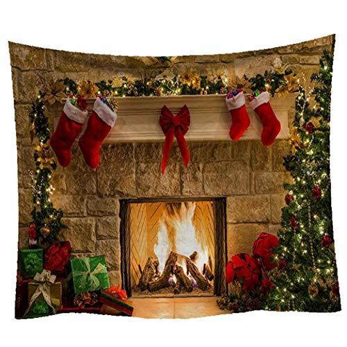 AMOYER 1pc Tapiz De Navidad Chrismas Árbol Chimenea Medias Tapices Tapiz Feliz Navidad Tapicería De La Pared para La Cama Sala De Estar Decoración del Dormitorio